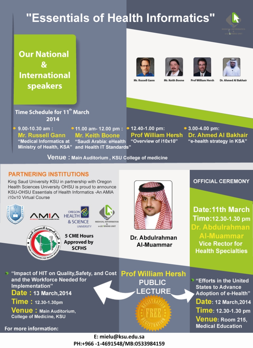 Essentials of Health Informatics March 11th, 12th and 13th Free to all CME Hours